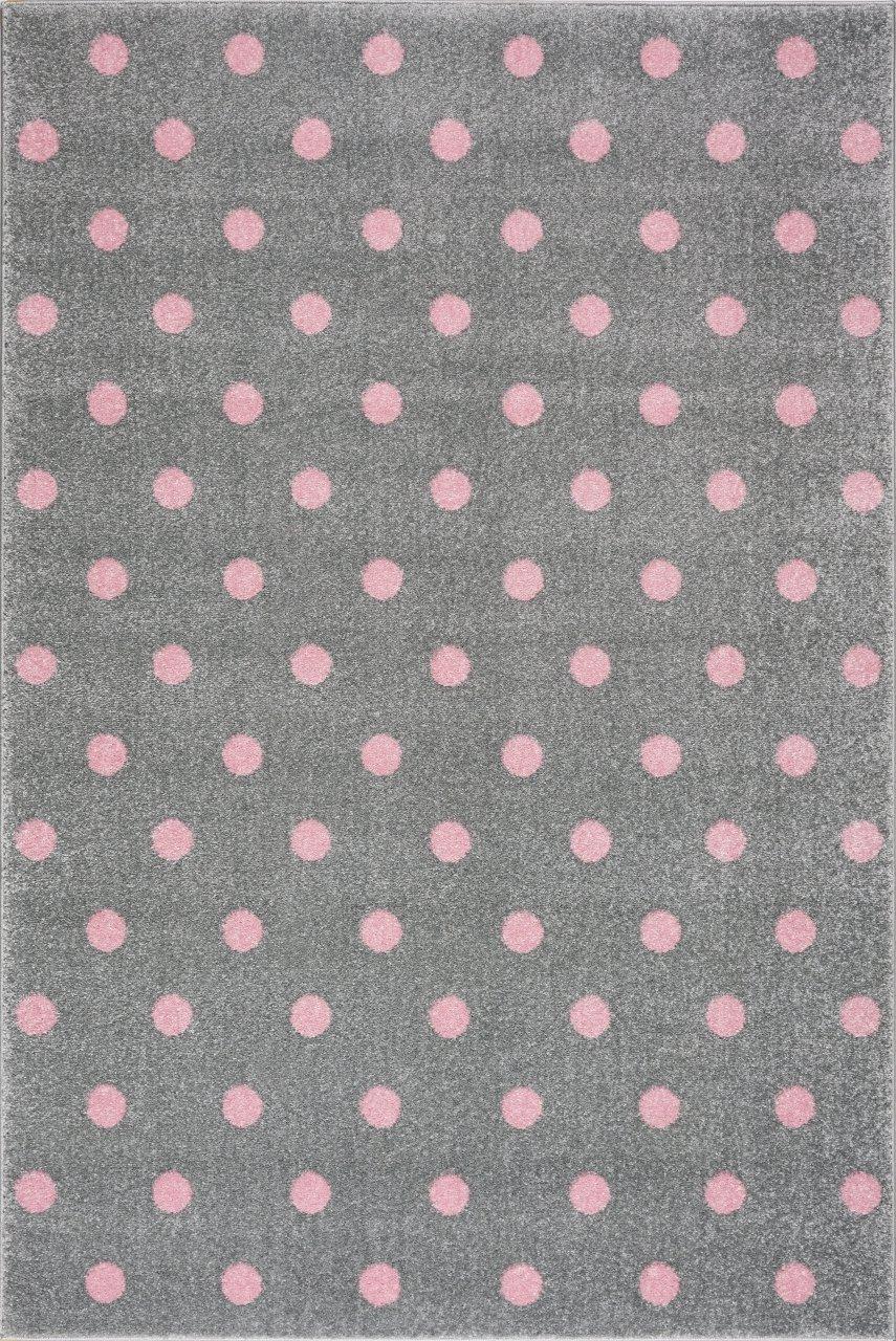 Livone Kinderzimmer Baby Kinderteppich Punkte Kreise in Silber grau rosa Größe 120 x 170 cm