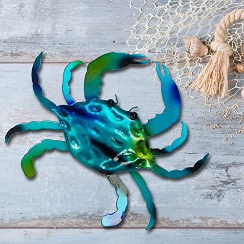 Crab Wall or Table Decor – 3D Metal Design – Hand-Painted – 14 x 12 – Modern Home Decoration – Indoor or Outdoor Use Contemporary Home Decoration in Coastal Style