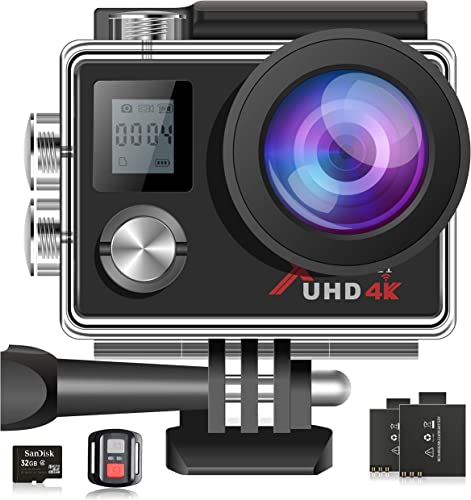 Campark 4K Action Camera 16MP WiFi 30M Underwater Cam 170 Wide Angle with Remote 2 Batteries and Mounting Accessories Kit 32GB Memory Card Included