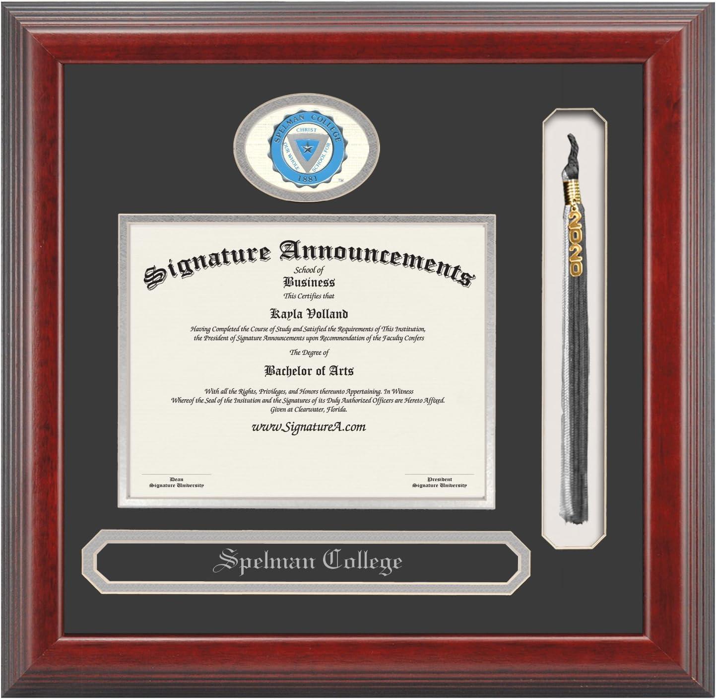 Name /& Tassel Graduation Diploma Frame Signature Announcements Spelman-College Undergraduate Professional//Doctor Sculpted Foil Seal Cherry 16 x 16