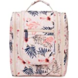 Travel Hanging Toiletry Wash Bag Makeup Cosmetic Organizer for Women Girls Kids (Beige Flamingo)