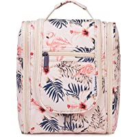 Hanging Travel Toiletry Bag Kit Cosmetic Makeup Organizer for Women and Men (Beige Flamingo)