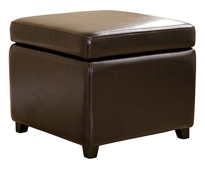 Review Wholesale Interiors Full Leather Ottoman, Dark Brown