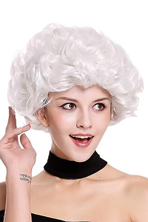 WIG ME UP ® - 91097-ZA68C Peluca señoras Mujer Carnaval Halloween Blanca, Rizado