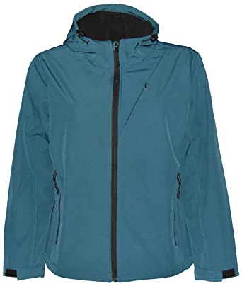 1a837dc975a2f Pulse Womens Extended Plus Size Soft Shell Hooded Jacket at Amazon Women s  Coats Shop