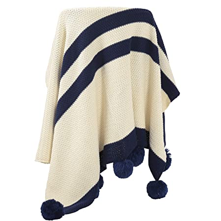 SONGMICS Knitted Throw Blanket With Pompoms 40% Cotton Throw Unique Lightweight Cotton Throw Blanket