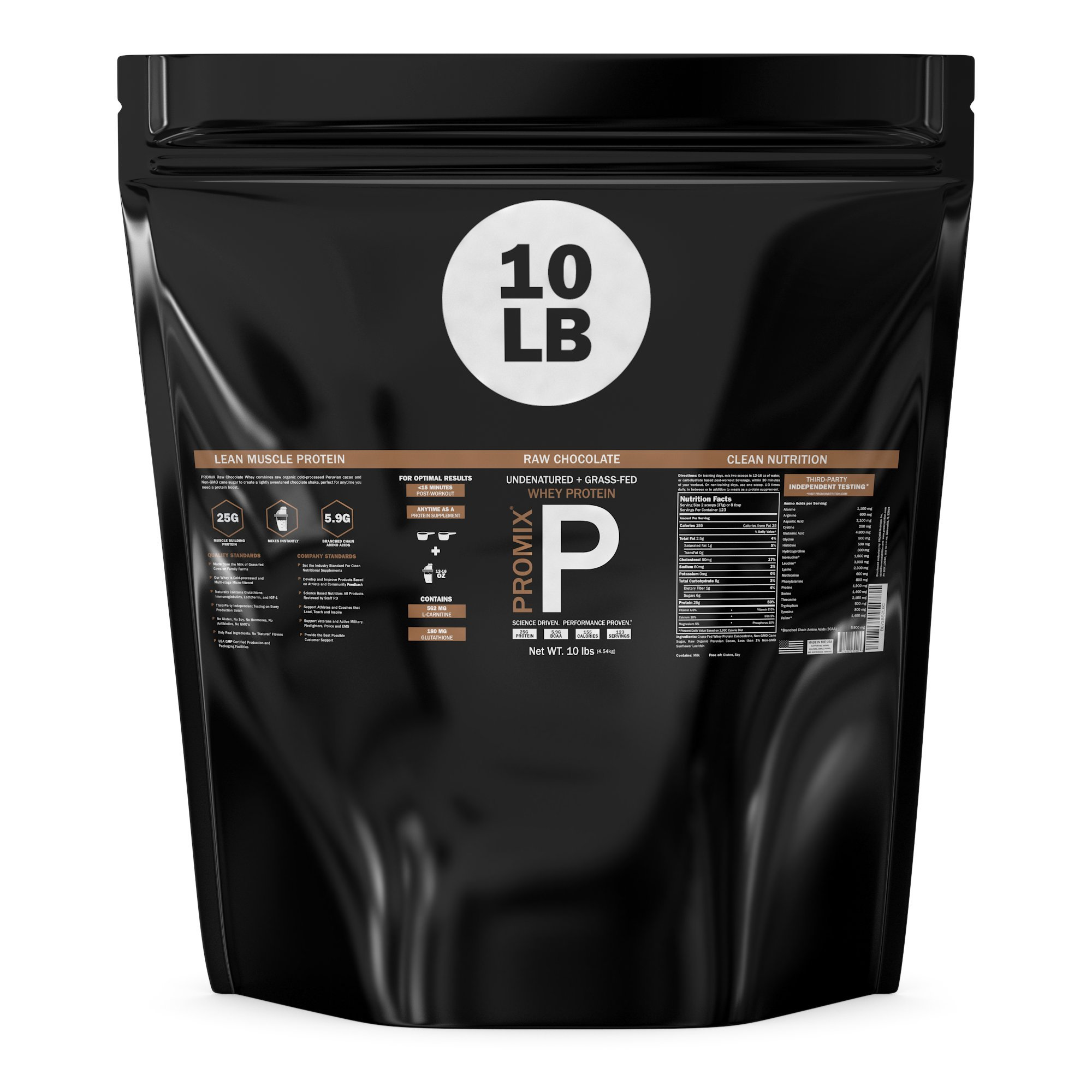 Performance Whey Protein Powder Concentrate - PROMIX Standard 100 Percent All Natural Grass Fed & Undenatured - Best for Optimum Fitness Nutrition Shakes & Energy Smoothie Bowls: Chocolate 10 lb Bulk
