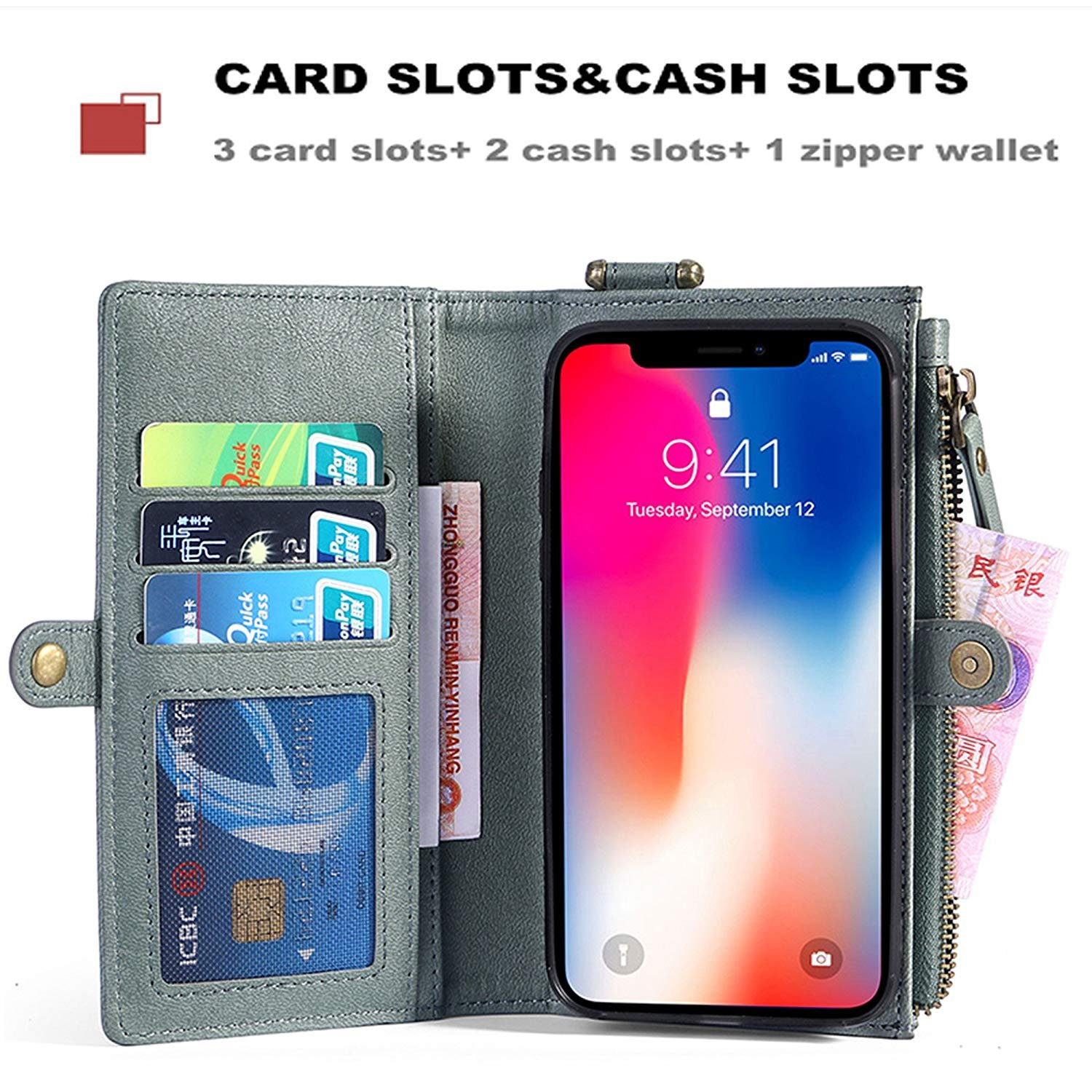 Spritech LG Stylo 4 Wallet Case,LG Stylo 4 Plus Case, TRIFOLD LEATHER Protective Case Layered with Hanging Hook & Zipper & Card Slots Magnetic Detachable Back Cover for LG Stylo 4