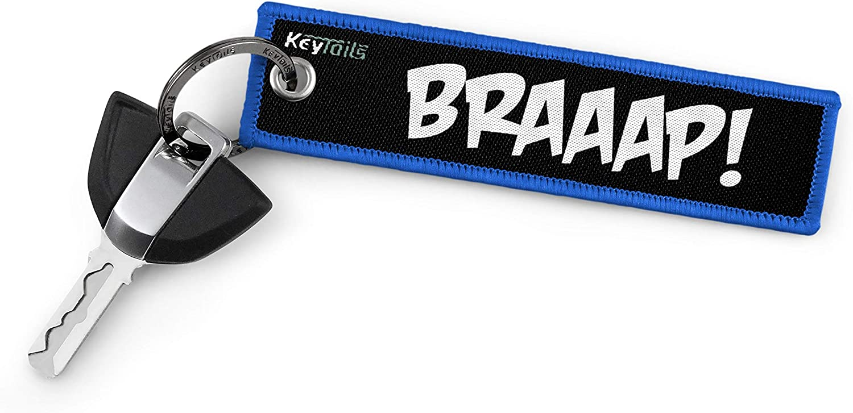 Braaap! KeyTails Premium-Qualit/ät Motorrad Schl/üsselanh/änger Schl/üsselring Kratzfest Ideal f/ür Ihr Motorrad Auto