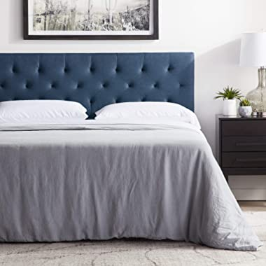 """LUCID Mid-Rise Upholstered Headboard - Adjustable Height from 34"""" to 46"""" - Queen - Cobalt"""