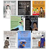 Famous Author Mini Educational Poster Series. English Literature Art Prints. Featuring: Kerouac, Vonnegut, Wheatley, Dickinso