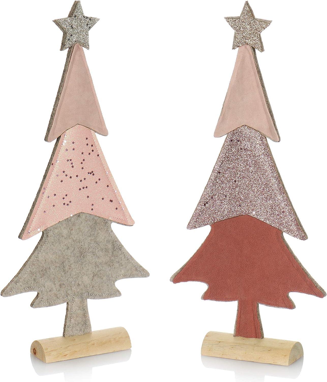 com-four® 2X Expositor Decorativo para Navidad - Árbol de Navidad de Fieltro con Base de Madera Maciza - Árbol de Navidad como decoración o Regalo [la selección varía] (02 Piezas de Abeto 37cm Rosa)