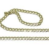 Cadena barbada Maciza de Oro Amarillo de 18k de 3mm de Ancha y 60cm de Larga. Cierre mosquetón
