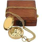 Artshai Super Premium Edition Antique style golden brass Pocket Watch with Sheesham box Premium gifts