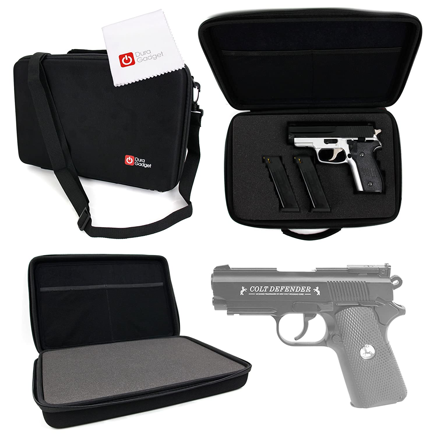 DURAGADGET Colt Defender Pistol BB Airgun Storage Case - Tough Black Armoured EVA 'Shell' Gun Case with Fully-Customizable & Shock-Absorbing D.I.Y Foam Interior for Colt Defender Pistol BB Airgun & Accessories + BONUS Cleaning Cloth!