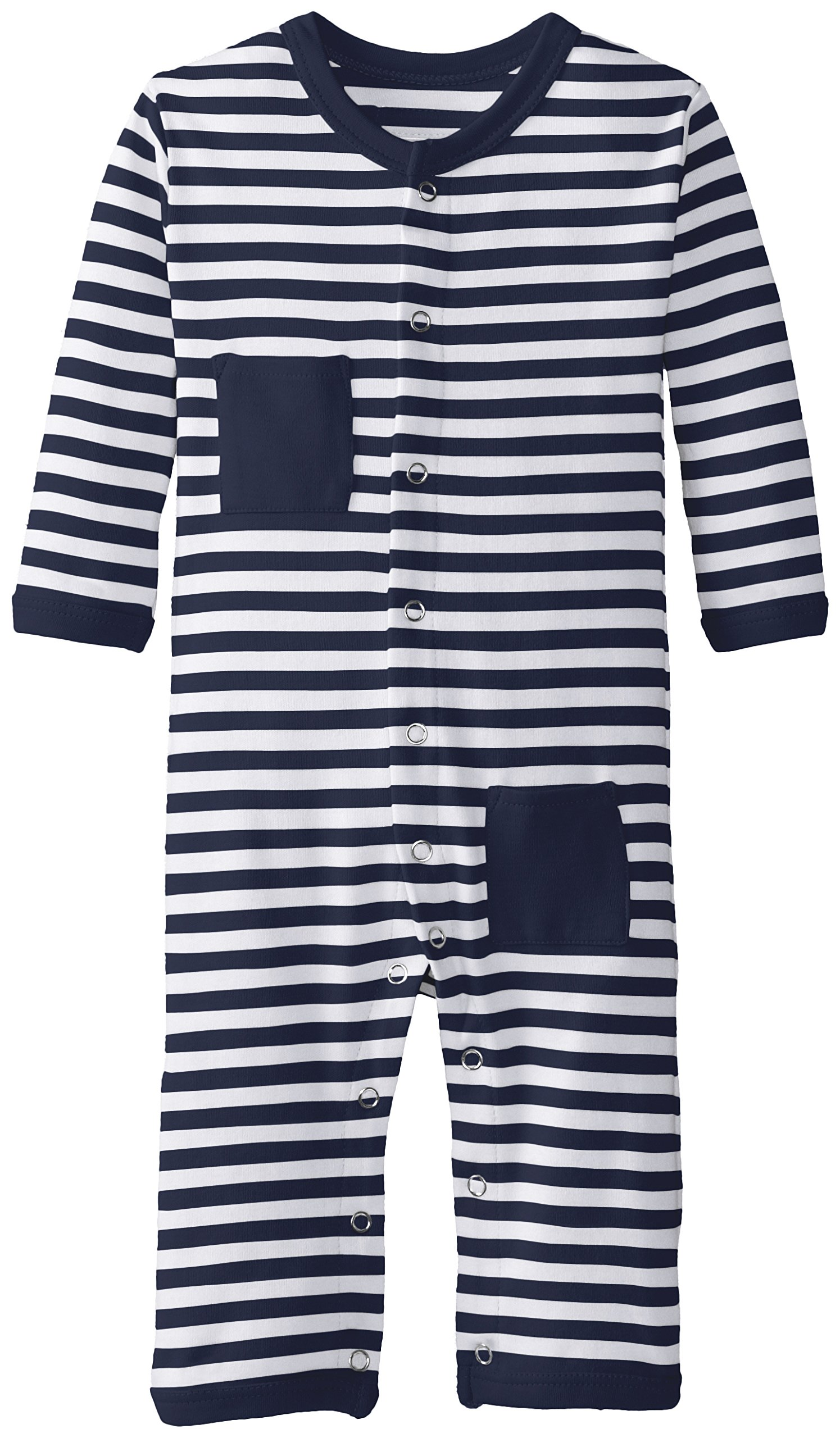 L'ovedbaby Unisex-Baby Newborn Organic Long Sleeve Overall, Navy/White, 6/9 Months