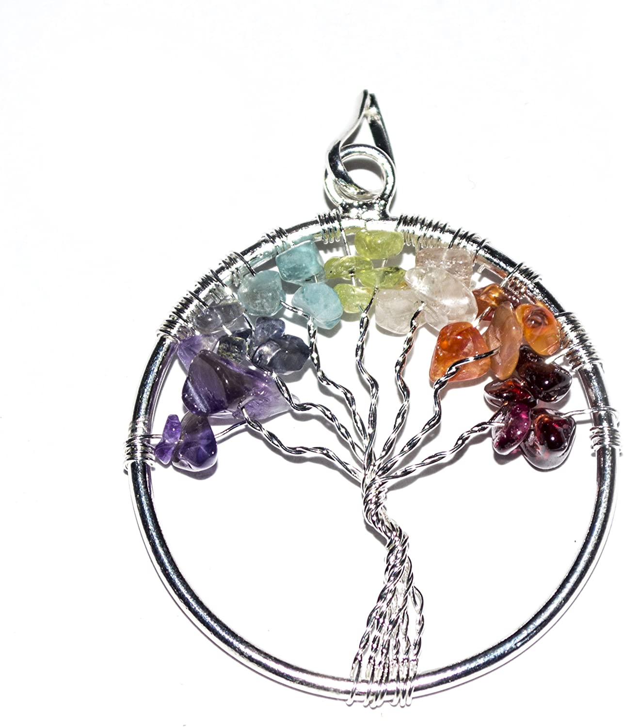 GEM STONES TREE OF LIFE HEALING SPIRITUAL NECKLACE 22 INCH SILVER CHAIN GIFT BOX