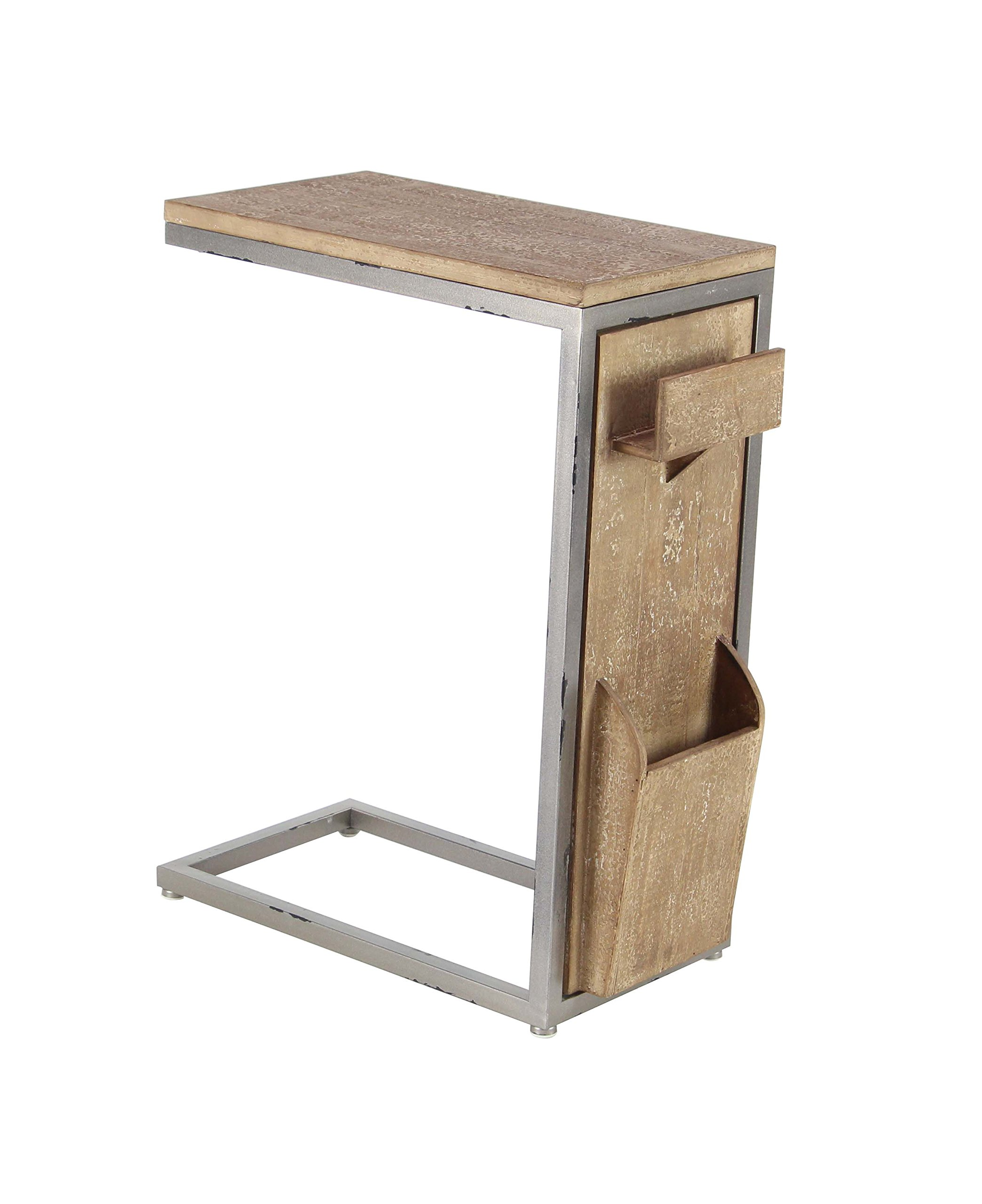 Deco 79 60198 Side Table, Light Brown/Gray