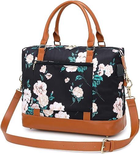 Weekender Bag for Women Overnight Travel Bag Carry On Floral Tote Bag with Shoulder Strap Water Resistant Travel Duffle Bag