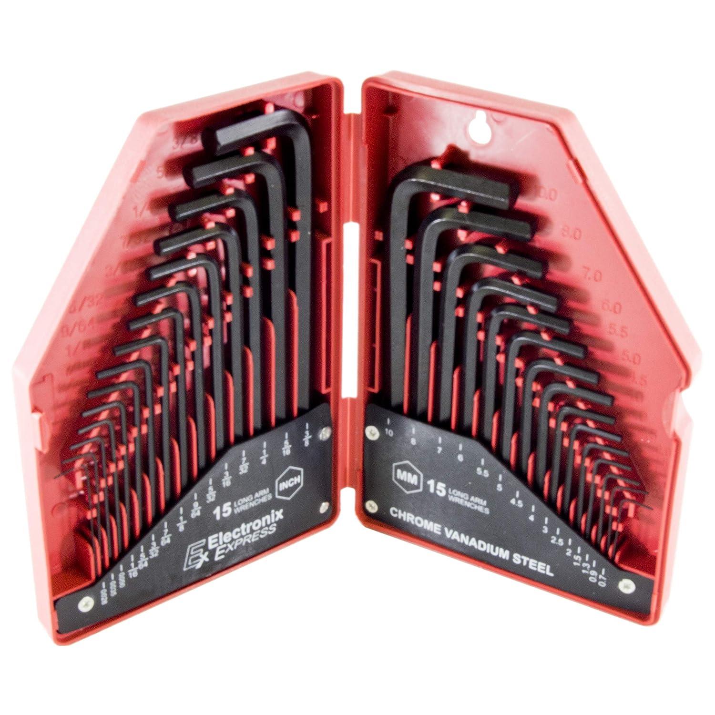 Electronix Express 30/piezas Llaves Allen llave Set-SAE//mm