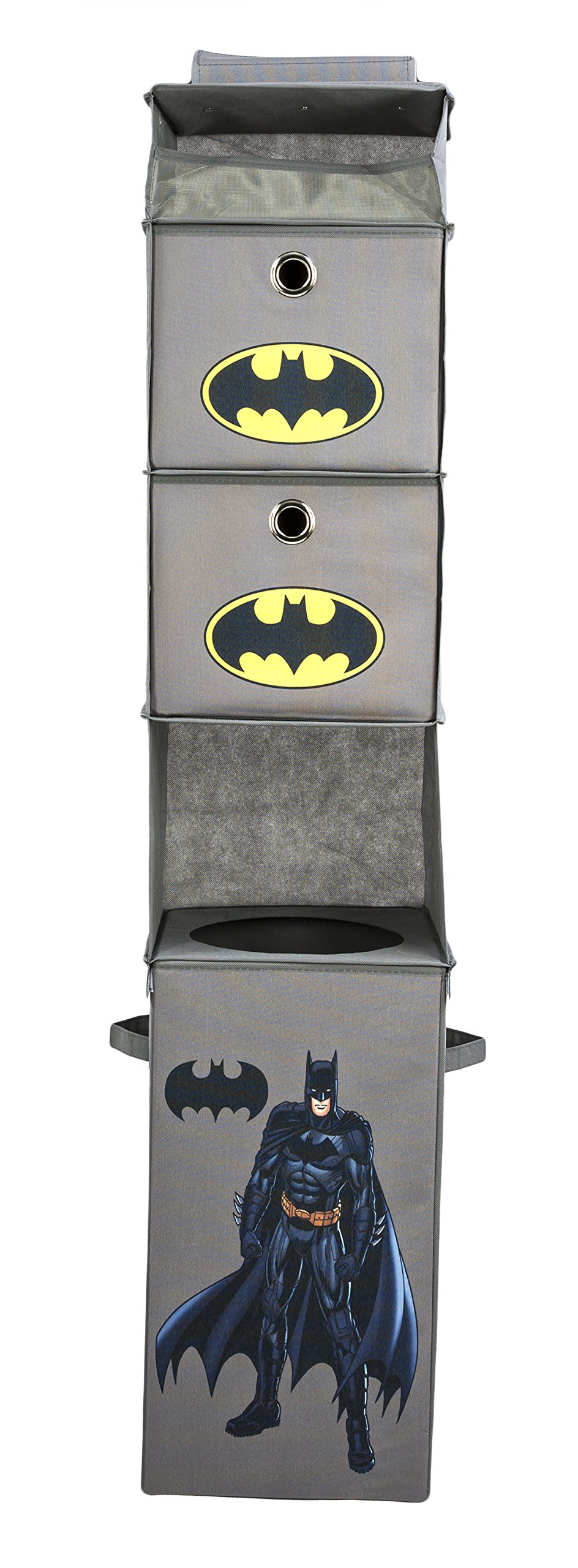 Batman Closet Hanging Organizer – 2 Storage Compartments, 1 Removable Laundry Bin – Collapsible Storage Bin for Toys - Bedroom Organizer - Foldable Bin with Large Capacity. Kid's Room Decor