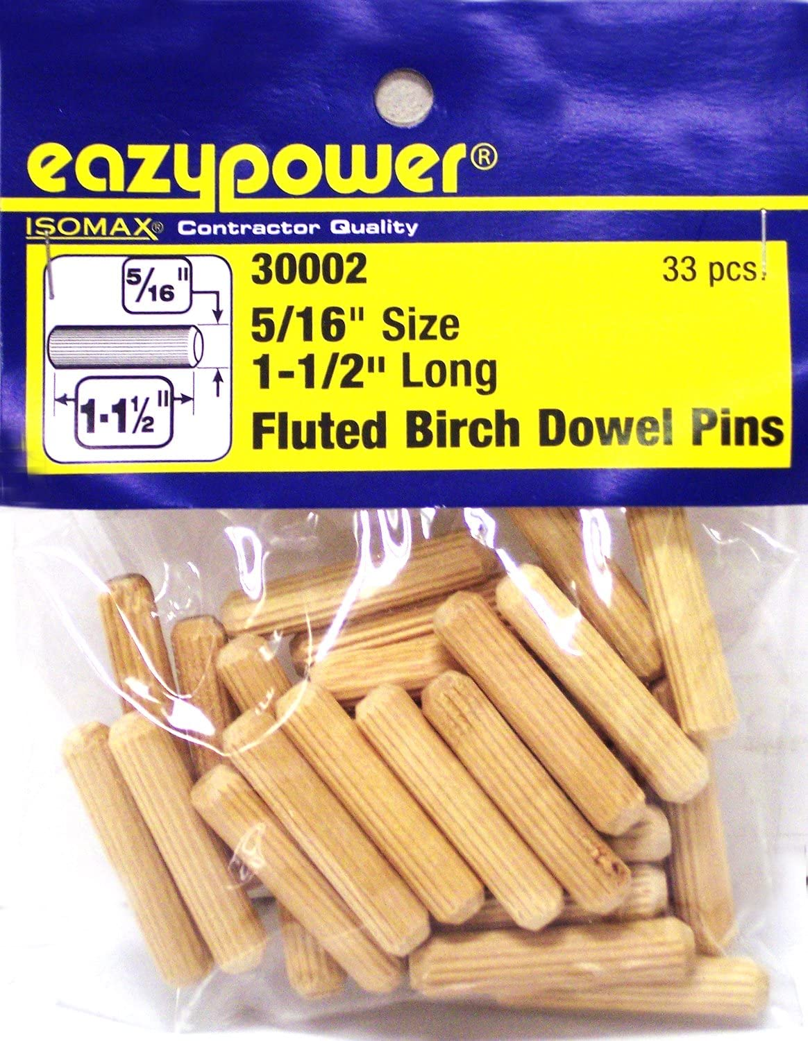 33 Piece Eazypower 30002 5//16 x 1-1//2 Fluted Dowel Pins