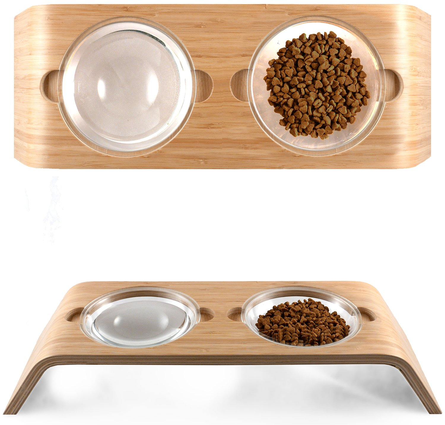 Elevated Dog & Cat Bowls by Fox & Fern - Whisker Fatigue Proof - 4'' Raised Pet Feeder from Bamboo Wood - Cats and Small Dogs Feeding Station - Mid Century Modern - Indent version