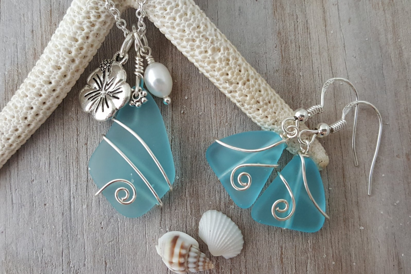 Handmade in Hawaii, wire wrapped Turquoise Bay blue sea glass necklace + earrings set, Hawaiian state flower Hibiscus and natural freshwater pearl, Mother's Day Gift, FREE gift wrap, FREE gift message