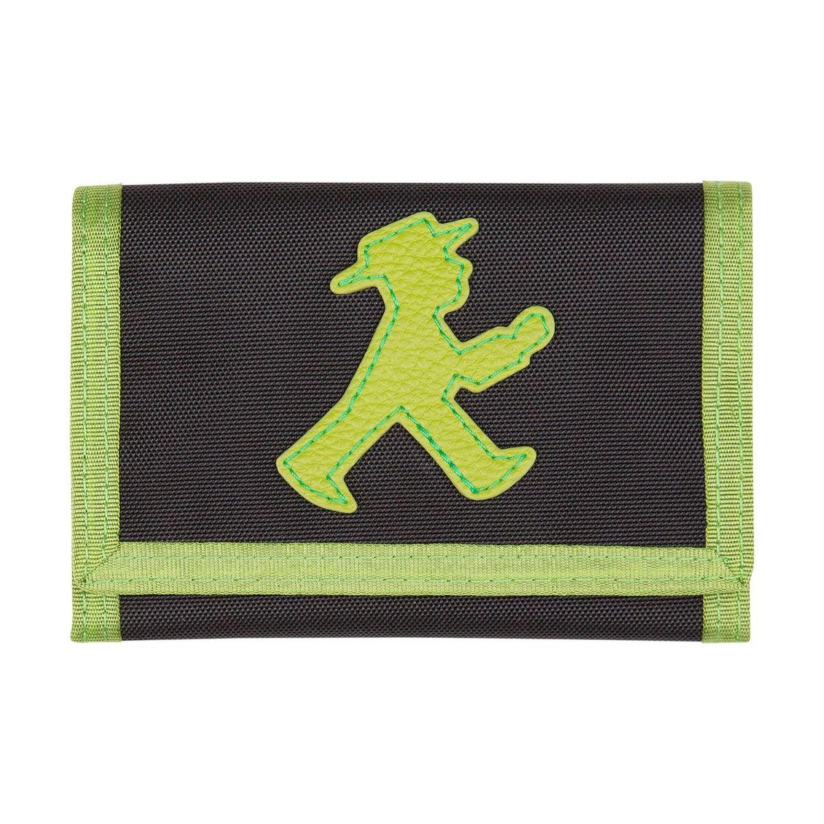 AMPELMANN Goldesel | Brustbeutel schwarz/grün | 25 x 12 x 10 cm 100% Polyester in Canvas-Stil mit PU-Leder und Geher 0108104808