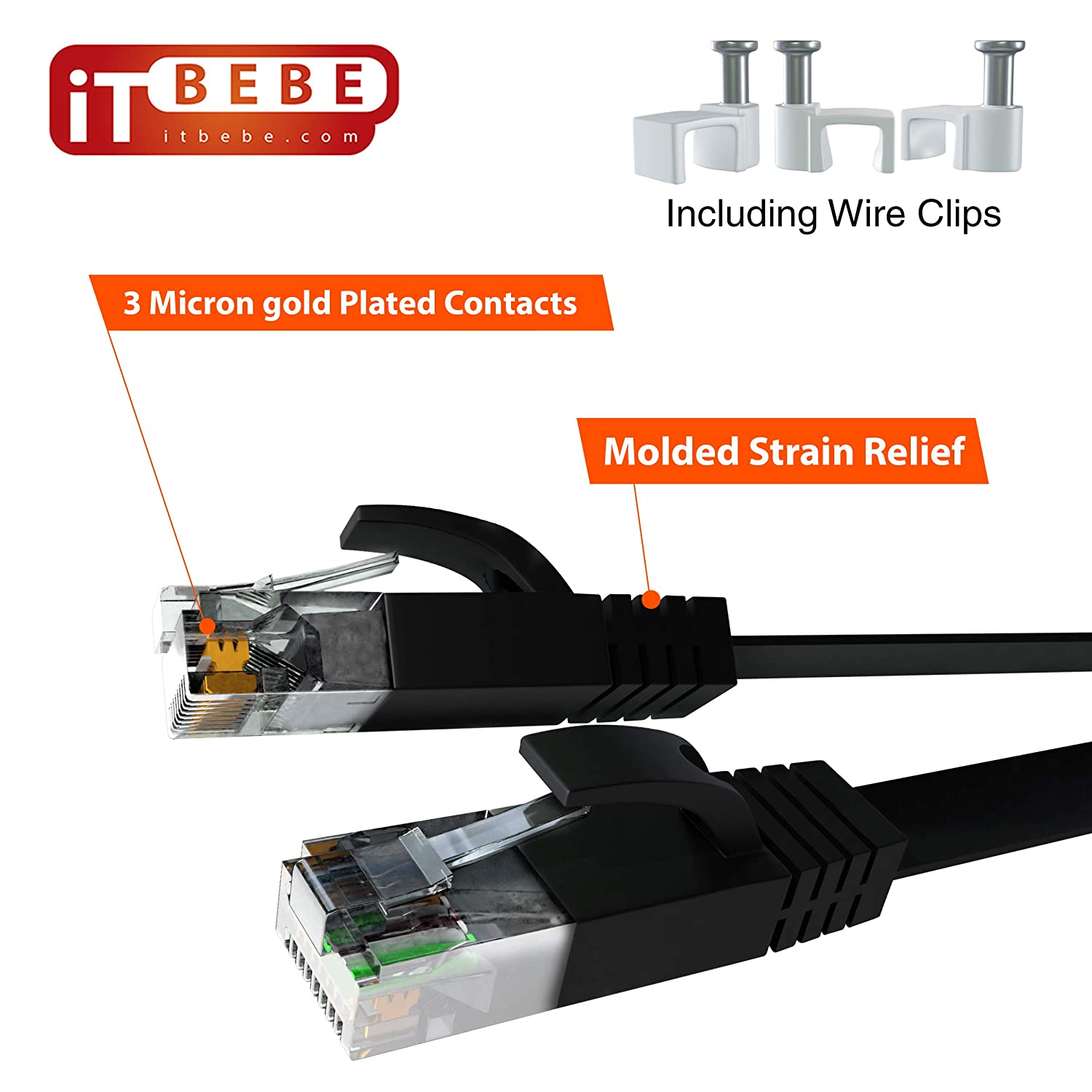 Black Flat Internet Cord with 3 Micron Gold-Plated RJ45 Connectors and Snag-Proof Clips Lightning Fast Speeds and Superior Signal Strength ITBEBE Cat6 Ethernet Cable 50 ft