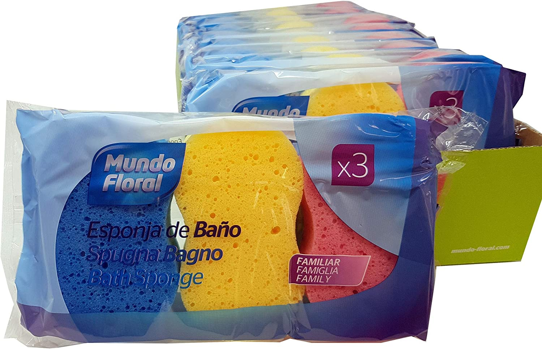 Mundo Floral. Esponjas de baño silueta. Cuidan y limpian tu piel con suavidad. Formato familiar en bandeja de 30 esponjas envasadas en packs de 3 unidades.: Amazon.es: Belleza