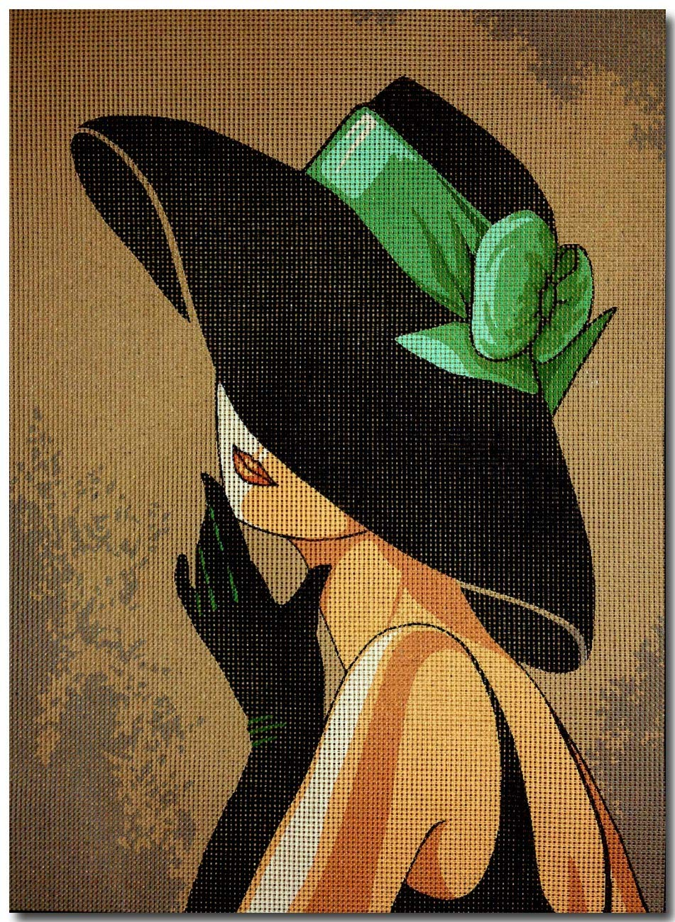 Needlepoint Kit Lady with hat 9.8x13.8 25x35cm printed canvas cod.608 Aidalux