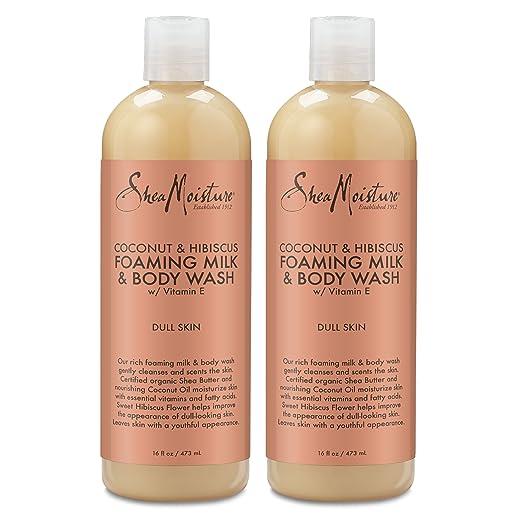 Shea Moisture Coconut & Hibiscus Foaming Milk & Body Wash, 16 oz (Pack of 2)