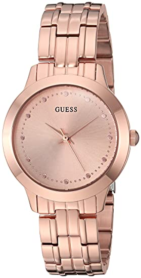 7ed093f2a7 GUESS Classic Slim Rose Gold-Tone Stainless Bracelet Watch. Color: Rose Gold -Tone (Model: U0989L3): Amazon.ca: Watches