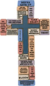 Inspirational Resin Wall Cross | Encouraging and Comforting Words and Phrases | Great Gift for First Communion, Confirmation and Graduation | Christian Home Decor