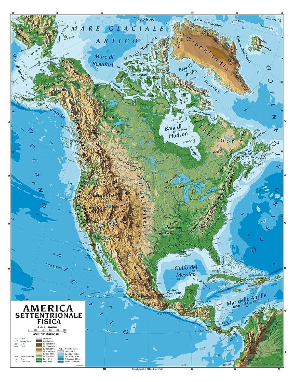 America Nord Cartina Fisica.Carta Geografica Murale America Settentrionale 100x140