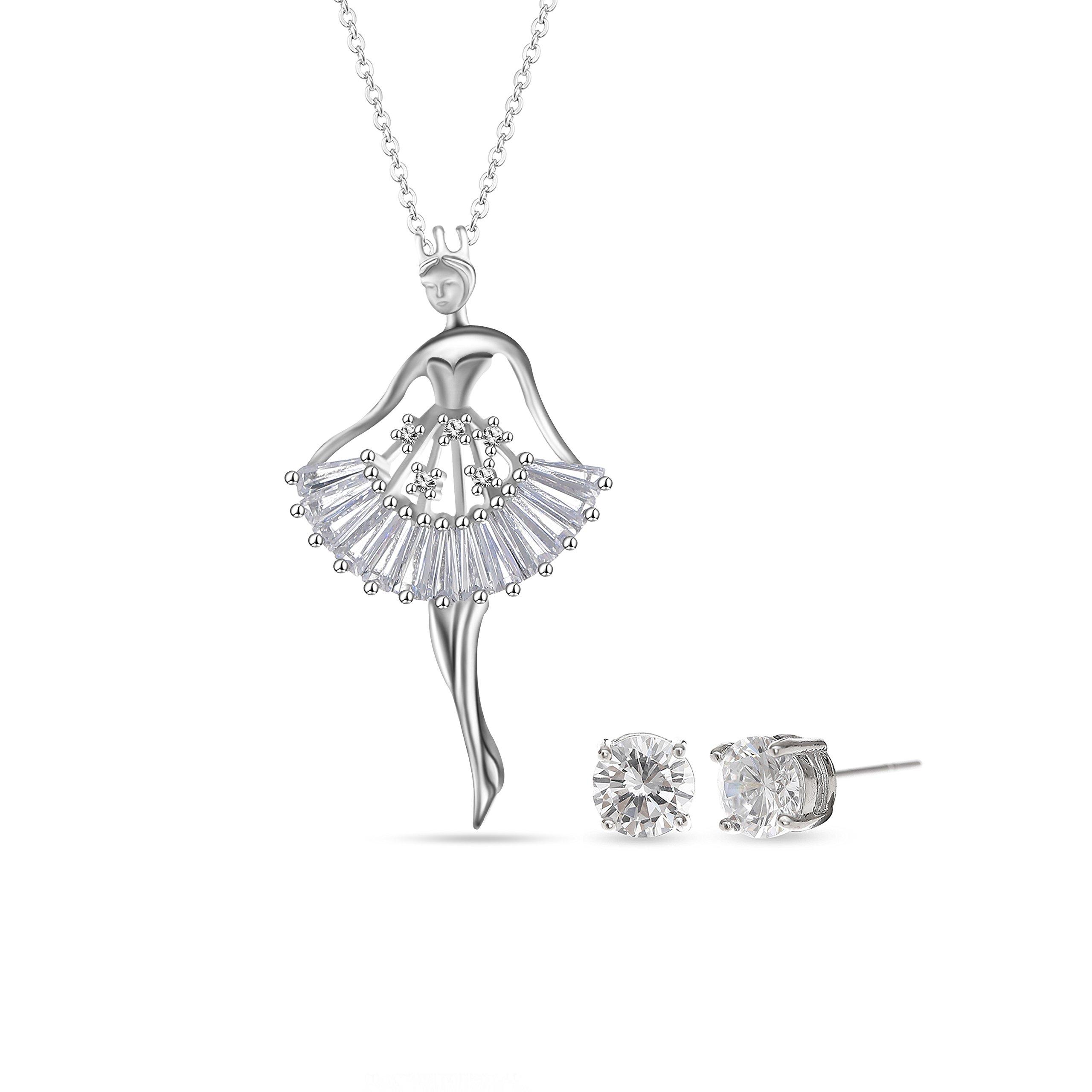 MYKEA Elegant Jewelry Set for Women 18K White Gold Ballerina Girl Pendant Necklace with Cubic Zirconia Stud Earrings for Teen Girls Jewelry by MYKEA (Image #7)