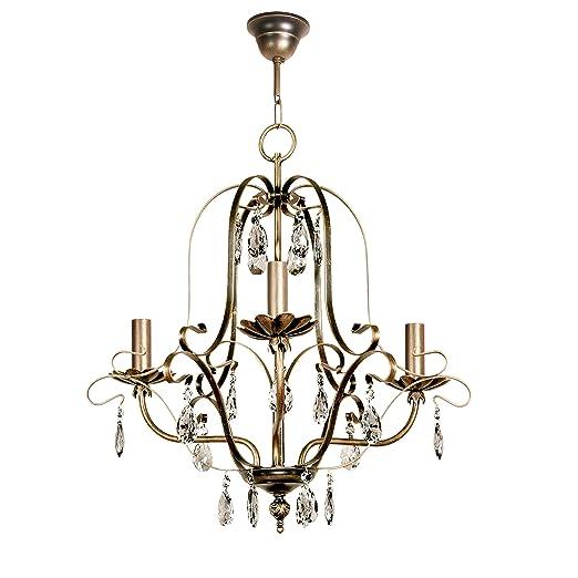Lámpara de techo de 3 luces acabado cuero con velas y ...