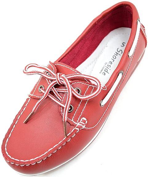 SNUGRUGS Náuticos de Piel Para Mujer, Color Rojo, Talla 39.5: Amazon.es: Zapatos y complementos