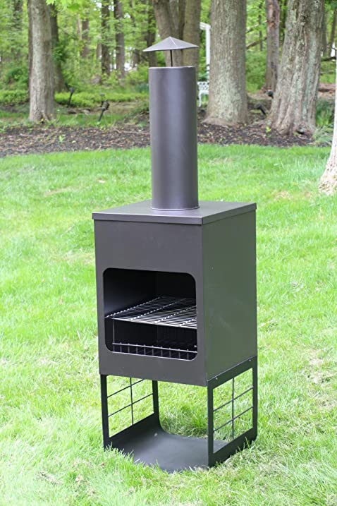 Marvelous Oliver And Smith   Large Iron Outdoor Round Patio Chiminea Fireplace Rear  Fire Shield   18u0026quot