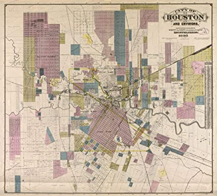 Amazon Com Hp 24 X 24 1895 Map Of City Of Houston Environs