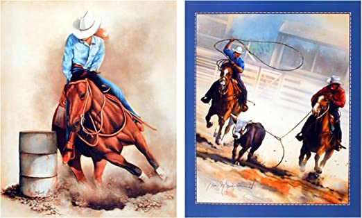8x10 Western Cowboy Rodeo Team Roping Horse Animal Picture Art Print