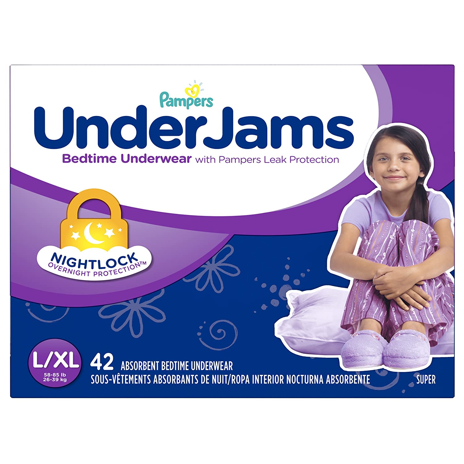 Pampers UnderJams Bedtime Underwear for Girls, Size Small/Medium Diapers, 50 Count 37000929604