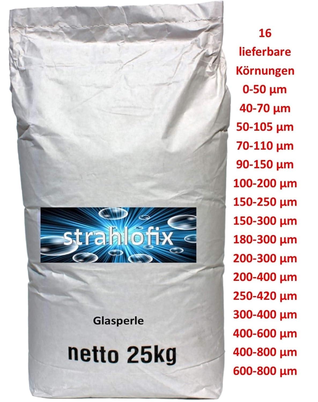 400-600 /µm 25 kg Glasperlen Strahlmittel Strahlglasperlen 16 K/örnungen mit PSA 1