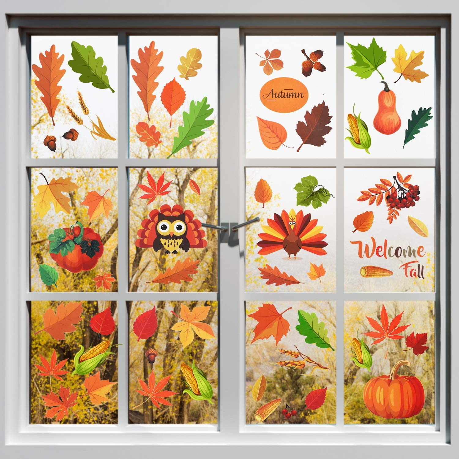 210 Pieces Fall Leaves Window Cling Stickers Thanksgiving Autumn Leaves Stickers Harvest Maple Acorn Window Decals for Autumn Holiday Party Decorations