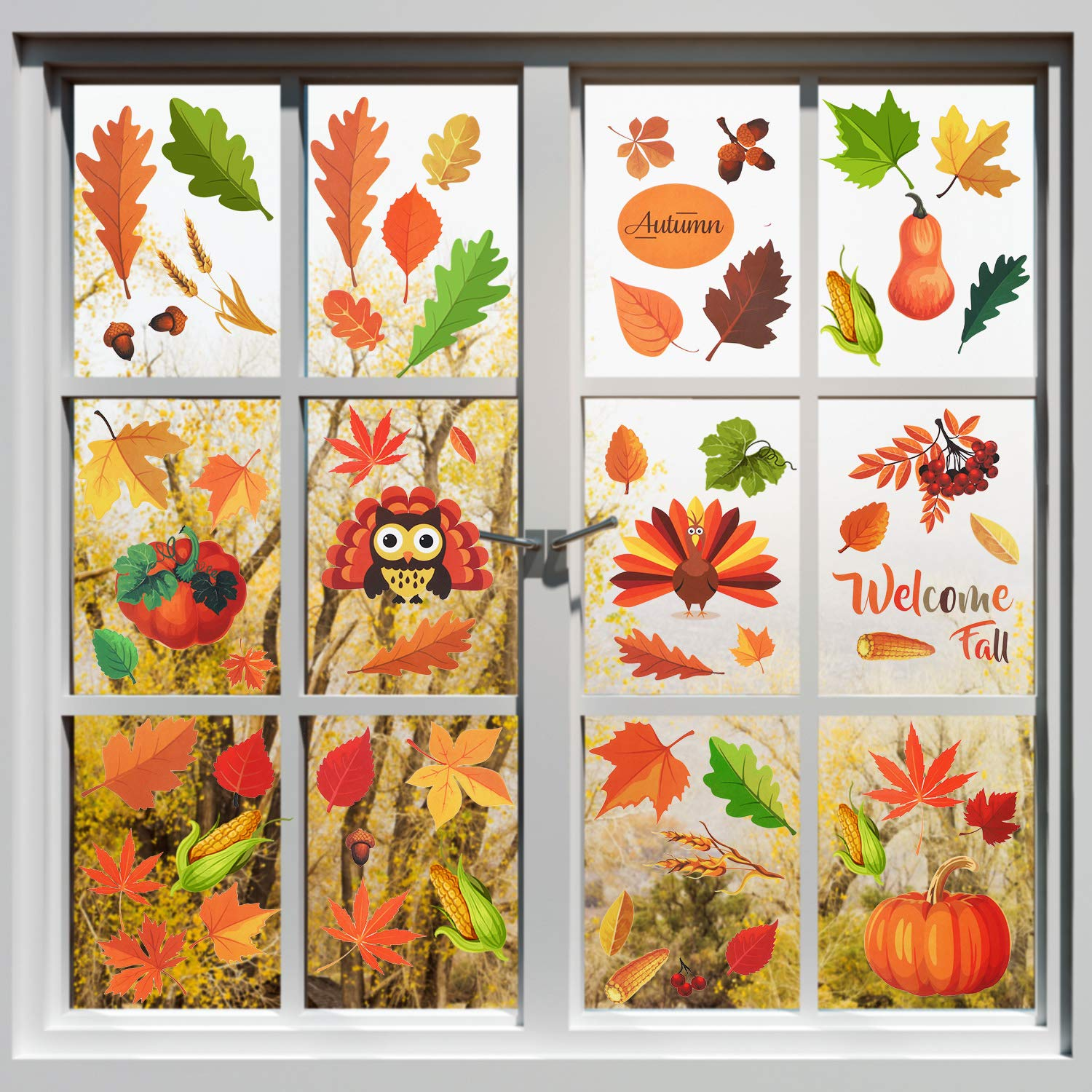 Astounding 210 Pieces Fall Leaves Window Cling Stickers Thanksgiving Autumn Leaves Stickers Harvest Maple Acorn Window Decals For Autumn Holiday Party Bralicious Painted Fabric Chair Ideas Braliciousco