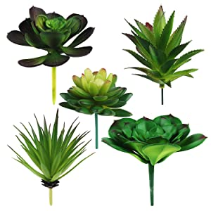 Hecaty 5 Pcs Large Size Faux Succulents,Artificial Hanging Ornaments Fleshed Plant Textured for Home Garden Wedding Party Decoration (5pcs)