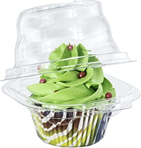 Katgely Individual Cupcake Container - Single Compartment Cupcake Carrier Holder Box - Stackable - Deep Dome - Clear Plastic - BPA-Free- (Pack of 100)