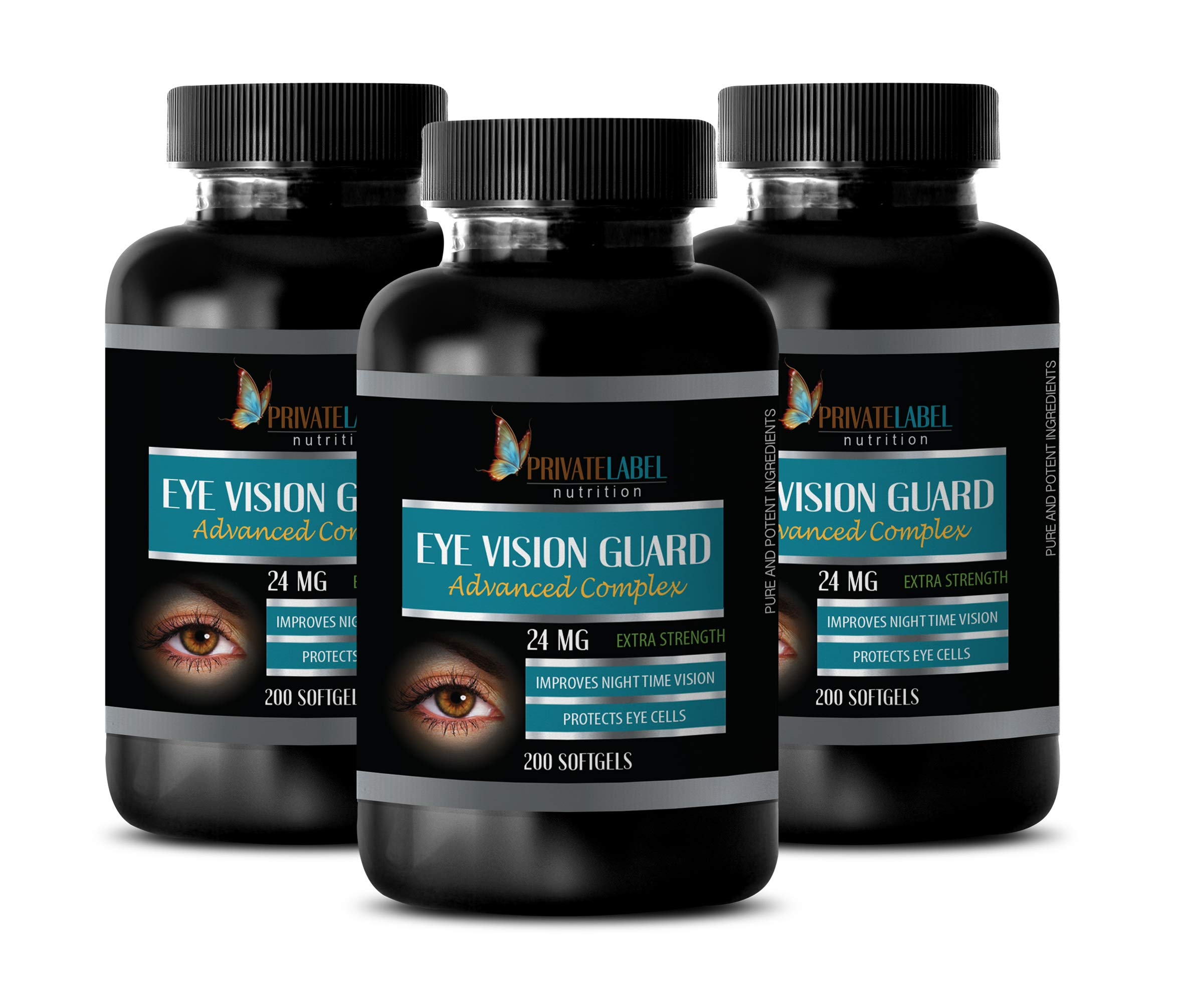 Vision Support Vitamins - Eye Vision Guard 24 MG - Advanced Complex - Bilberry Extract softgels - 3 Bottles 600 Softgels