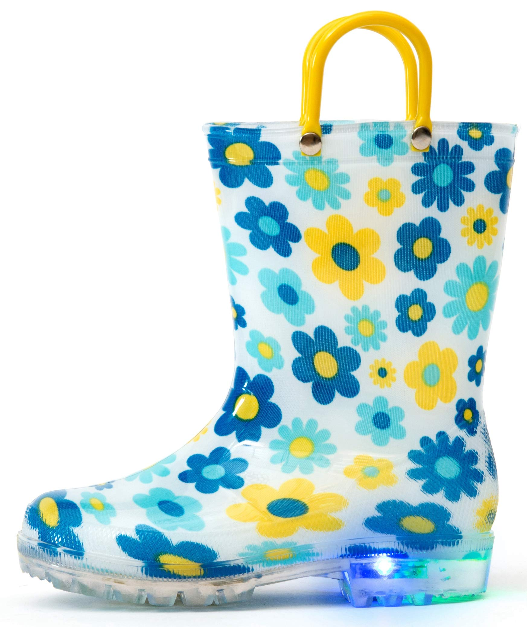 Outee Toddler Girls Kids Light Up Rain Boots Printed Waterproof Shoes Lightweight Cute Blue Flower with Easy-On Handles and Insole (Size 6,Blue)